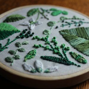 GardenGreen - Hand Embroidered Textile Art